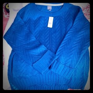 Brand new! Beautiful blue sweater with pockets